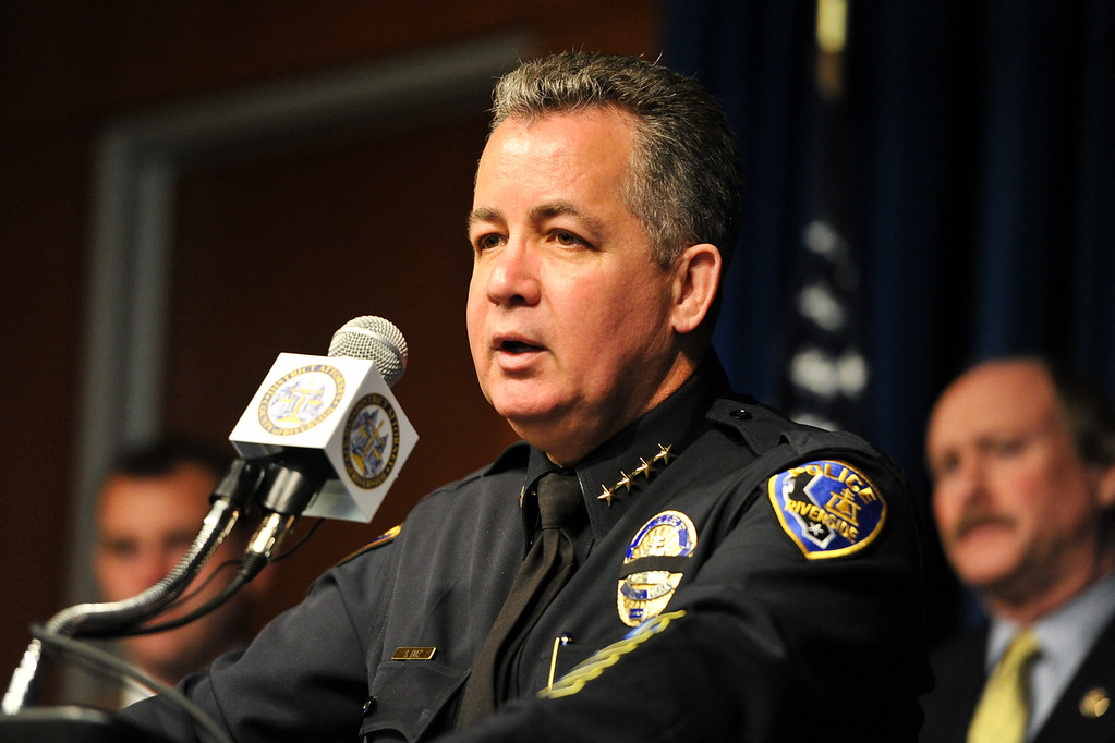 . Riverside Police Chief Sergio Diaz gives he latest updates in the search for fugitive ex-LAPD officer Christopher Dorner at a press conference at the D.A.\'s office in Riverside on Monday, Feb. 11, 2013. (Rachel Luna / Staff Photographer)