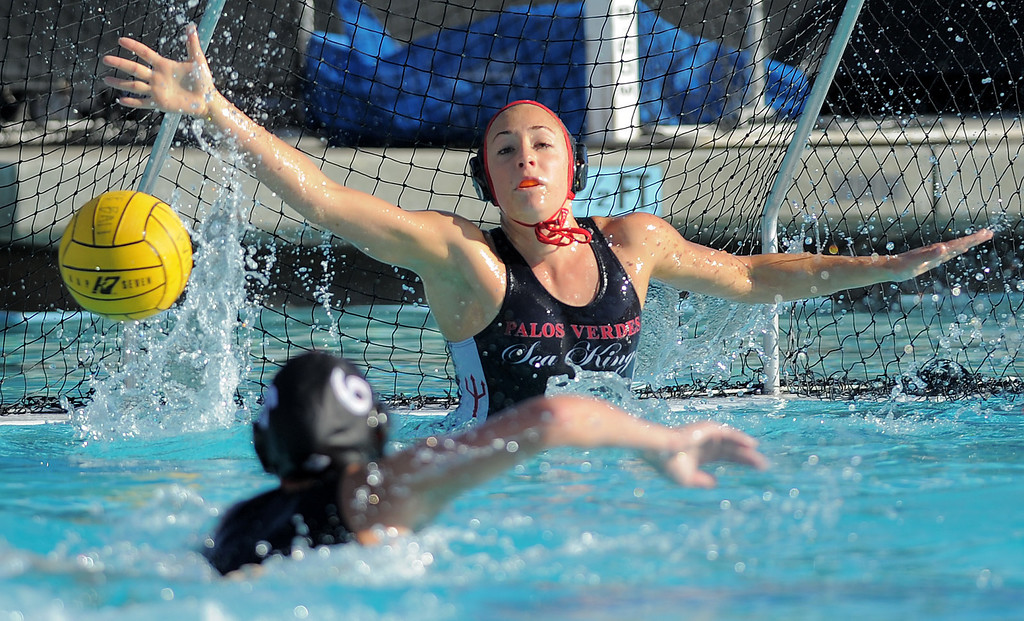 . 02-16-2012--(LANG Staff Photo by Sean Hiller)- Palos Verdes girls water polo defeated Upland 10-8 in Saturday\'s CIF Southern Section Division III quarterfinal at Palos Verdes High School. Ellie D\'Ambra steps in at goal keeper but is unable to stop a penalty shot after Carley Radov had to watch from the pool deck.