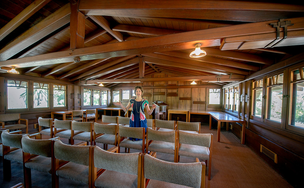"Description of . Anne Mallek, Curator of the Gamble House discussing what was orginally the attic area of the Gamble HomeFans of the BBC's ""Upstairs/Downstairs"" and ""Downton Abbey"" can get a rare, behind-the-scenes look at the real deal when the Gamble House, located at  4 Westmoreland Place in Pasadena. The Gamble House opens up its servants quarters for three weeks only, beginning Aug. 1. The tour is based on new findings about the Gamble family and its servants. Part of the first floor will be closed on the tour due to renovations.(SGVN/Photo by Walt Mancini)"