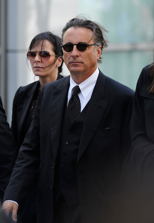 . Andy Garcia arrives at the Jerry Buss Memorial Service at Nokia Theatre, Thursday, February 21, 2013. (Michael Owen Baker/Staff Photographer)