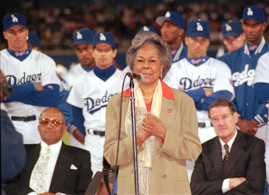 Description of . Rachel Robinson, widow of the late baseball great Jackie Robinson, speaks during the