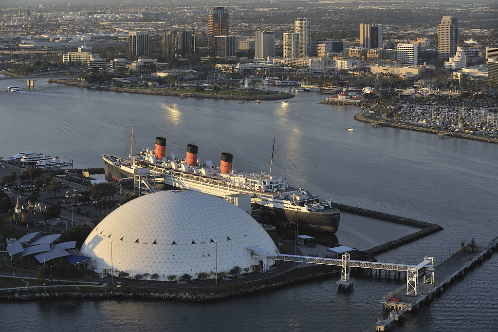. LONG BEACH, CALIF. USA -- Aerial view of the Queen Mary and Downtown Long Beach, Calif. on January 13, 2011�FILE PHOTO by Jeff Gritchen / Long Beach Press-Telegram..