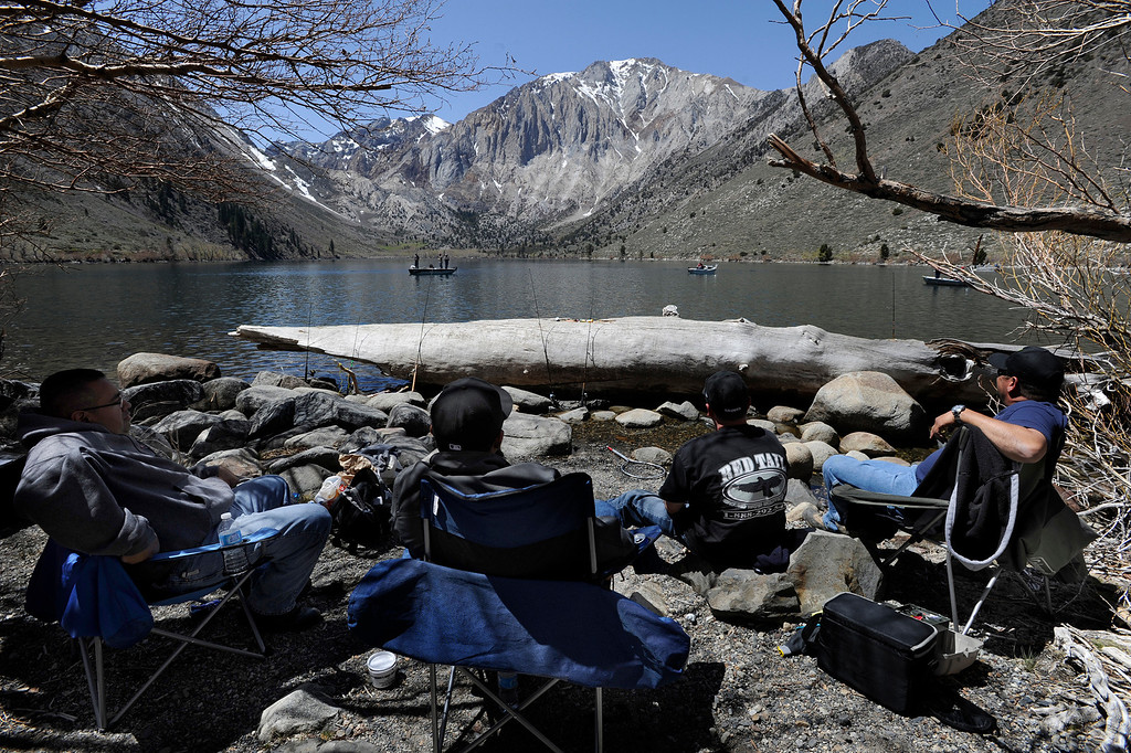 . Fishing action from the shore at Convict Lake on opening day of Trout Fishing Season in the Eastern Sierra. Convict Lake, CA 4/27/2013(John McCoy/Staff Photographer)
