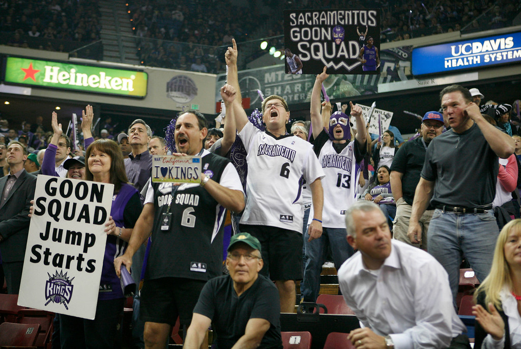. Sacramento Kings fans get pumped up before an NBA basketball game against the Los Angeles Clippers in Sacramento, Calif., on April 17, 2013.(AP Photo/Steve Yeater)