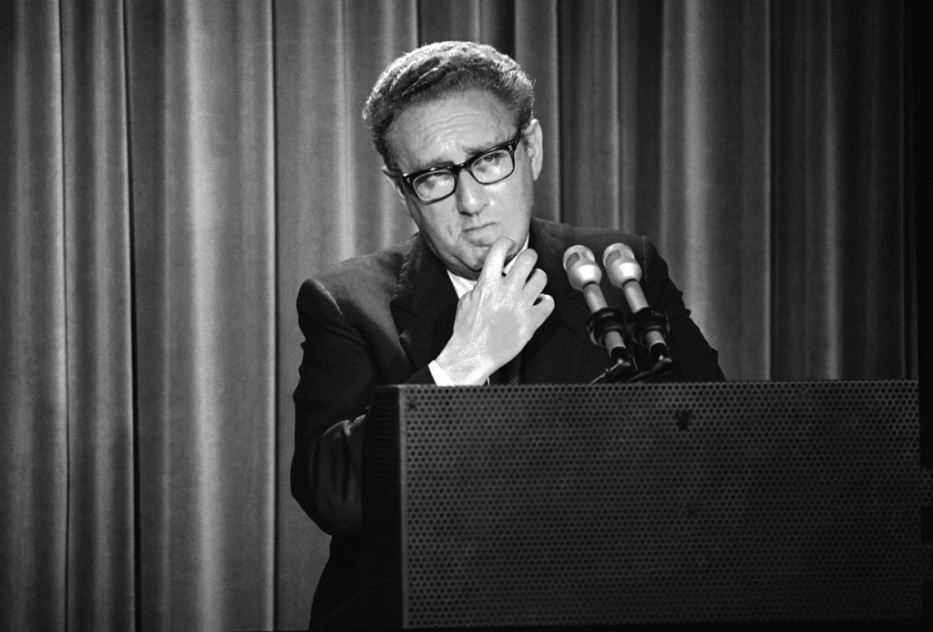 Description of . In this Thursday, May 3, 1973 photo, Henry Kissinger, President Nixon's foreign affairs adviser, briefs newsmen on Nixon's annual State the World report to Congress at the White House in Washington. The report states that North Vietnam risks renewed war with the Untied States unless it lives up to the Vietnam cease-fire. As the last U.S. combat troops left Vietnam 40 years ago, angry protesters still awaited them at home. North Vietnamese soldiers took heart from their foes' departure, and South Vietnamese who had helped the Americans feared for the future. While the fall of Saigon two years later — with its indelible images of frantic helicopter evacuations — is remembered as the final day of the Vietnam War, Friday marks an anniversary that holds greater meaning for many who fought, protested or otherwise lived it. (AP Photo/Harvey Georges)
