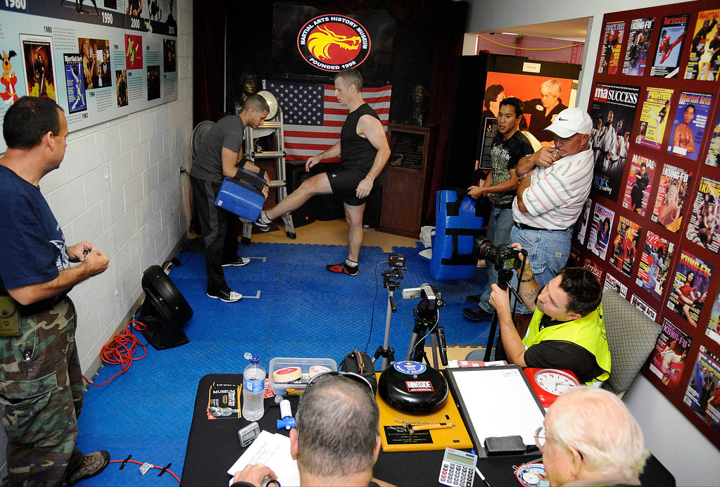 . Actor/stuntman Ron Sarchian  set a new Guinness world record by full contact kicking a bag 6,000 times in one hour and did it by 6,012 at the Martial Arts History Museum in Burbank. 
