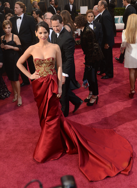 . Olivia Munn arrives at the 85th Academy Awards at the Dolby Theatre in Los Angeles, California on Sunday Feb. 24, 2013 ( Hans Gutknecht, staff photographer)