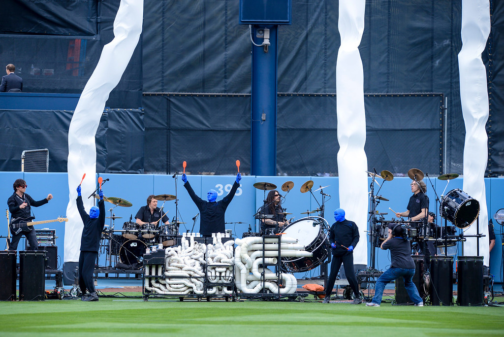 . Blue Man Group performs at opening day at Dodger Stadium Monday.  Photo by David Crane/Los Angeles Daily News.