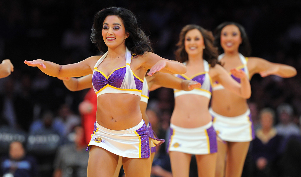 . Laker Girls perform during a break in the game against the Denver Nuggets at the Staple Center in Los Angeles, CA on Sunday, January 5, 2014. 1st half.  (Photo by Scott Varley, Daily Breeze)