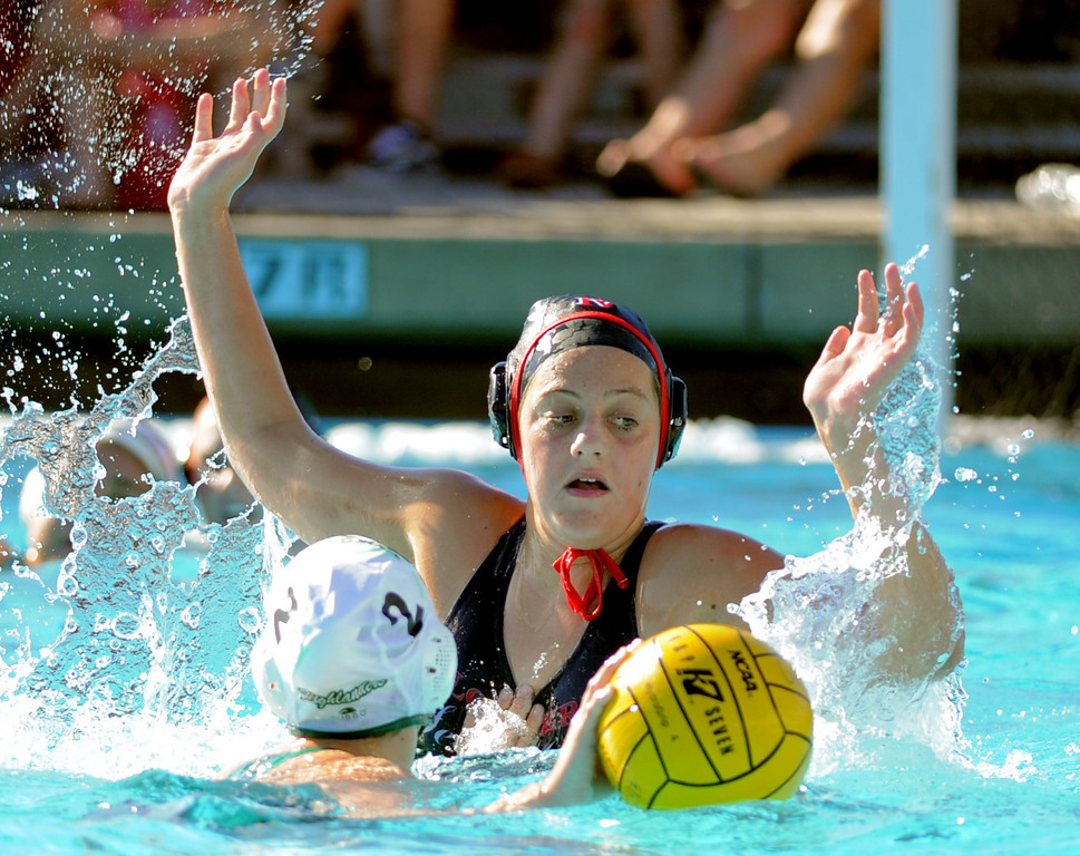 . 02-16-2012--(LANG Staff Photo by Sean Hiller)- Palos Verdes girls water polo defeated Upland 10-8 in Saturday\'s CIF Southern Section Division III quarterfinal at Palos Verdes High School. PV\'s Kate Roan guards Upland\'s Alison Ford (2).