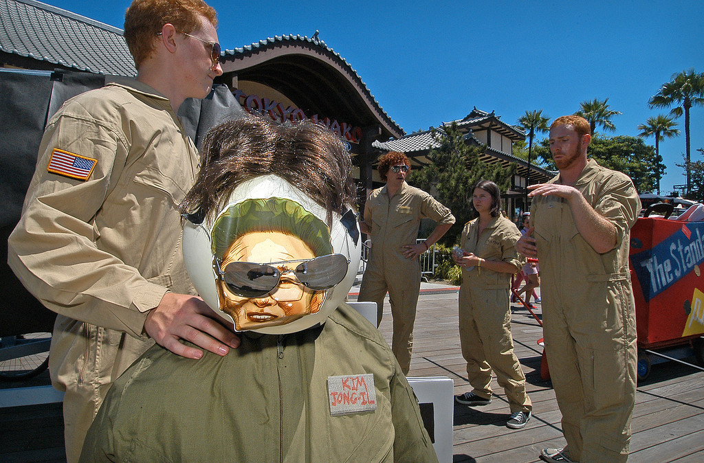 . 08/21/10:  Team Stealth Ginger go over their skit which includes a figure with the appearance of North Korea\'s President Kim Jong-Il prior to take off at the Red Bull Flugtag Long Beach at Rainbow Harbor on Saturday, August 21, 2010..Photo by Diandra Jay/Press-Telegram