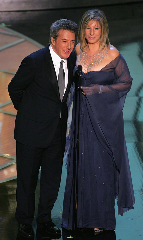 . Actor Dustin Hoffman and actress Barbra Streisand appear on stage during the 77th Annual Academy Awards on February 27, 2005 at the Kodak Theater in Hollywood, California. (Photo by Kevin Winter/Getty Images)