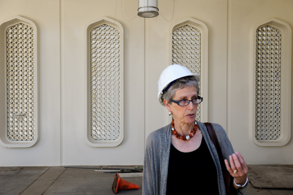 . Glendale Library Administrator Carolyn Flemming stands in the plaza entryway during a tour of Glendale�s historic Brand Library & Art Center during the final stages of its 18-month remodel. Tuesday, July 23, 2013. (Michael Owen Baker/L.A. Daily News)