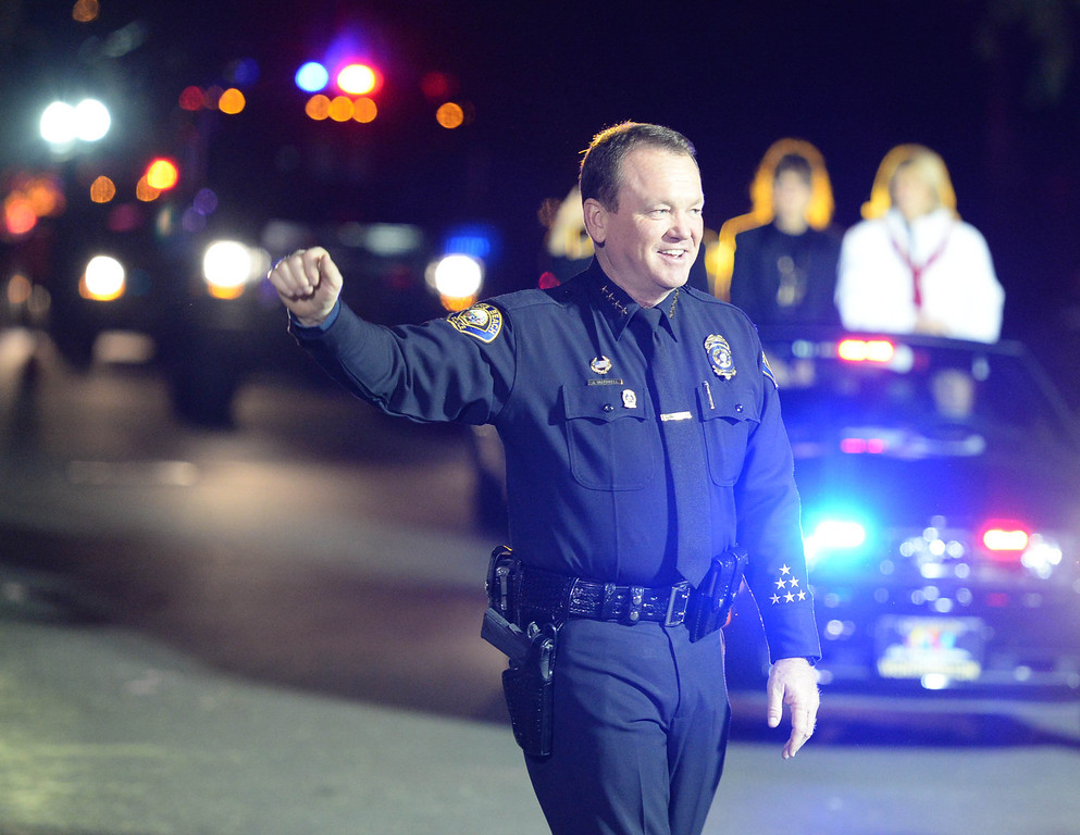 . The 60th annual Daisy Avenue Parade in the Wrigley neighborhood Saturday, December 13, 2013, in Long Beach, CA.  Chief Jim McDonnell and the Long Beach Police Dept. Photo by Steve McCrank/DailyBreeze