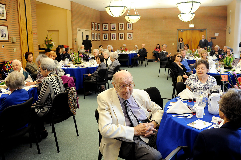 . David Glicker participates in a traditional Passover Seder at the Los Angeles Jewish Home in Reseda, CA March 20, 2013.  More than a dozen residents of Keiro Senior Healthcare in Boyle Heights joined residents of the Los Angeles Jewish Home for the religious celebration Wednesday.(Andy Holzman/Los Angeles Daily News)