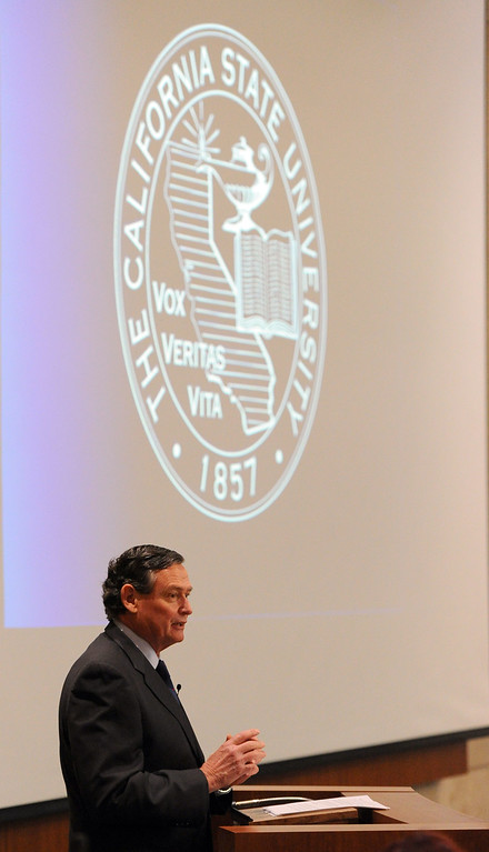 . CSU Chancellor Timothy P. White gives his State of the CSU address in Long Beach, CA on Wednesday, January 29, 2014.  (Photo by Scott Varley, Daily Breeze)