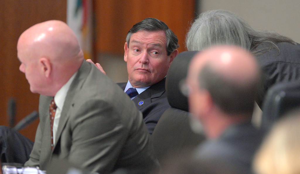 . CSU Chancellor Timothy P. White chats prior to giving his State of the CSU address in Long Beach, CA on Wednesday, January 29, 2014.  (Photo by Scott Varley, Daily Breeze)