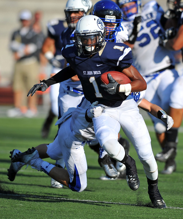 . St. John Bosco football takes on Chandler, Airzona as part of the Mission Viejo Classic in Mission Viejo, CA on Saturday, September 14, 2013. St. John Bosco won 52-31.  Bosco\'s Shay Fields. (Photo by Scott Varley, Press-Telegram)