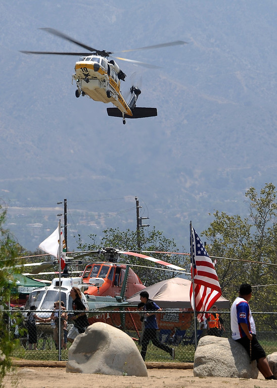 . LA county fire hawk makes a landing  during the 20th anniversary of American Heroes Air Show Courage at the Speed of Flight at Hansen Dam. Lake View Terrace CA.  June 29,2013. Photo by Gene Blevins/LA Daily News