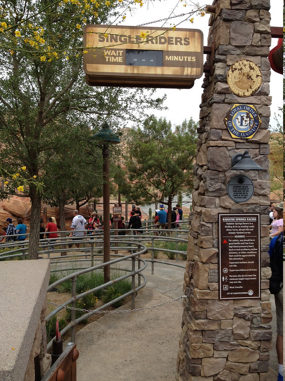 Radiator Springs Racers Single Rider Line Entrance