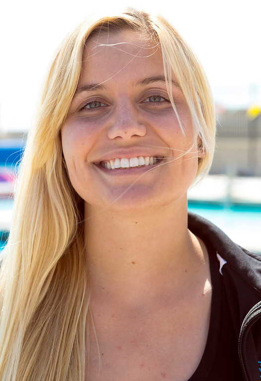Description of . Shannon Golden of Los Osos High School has been named to the Daily Bulletin's All-Valley Girl's water polo team. Photo by Frank Perez, for the Daily Bulletin.