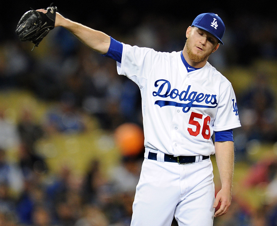 . Los Angeles Dodgers relief pitcher J.P. Howell after hitting San Diego Padres\' Kyle Blanks in the seventh inning of their baseball game on Wednesday, April 17, 2013 in Los Angeles.   (Keith Birmingham/Pasadena Star-News)