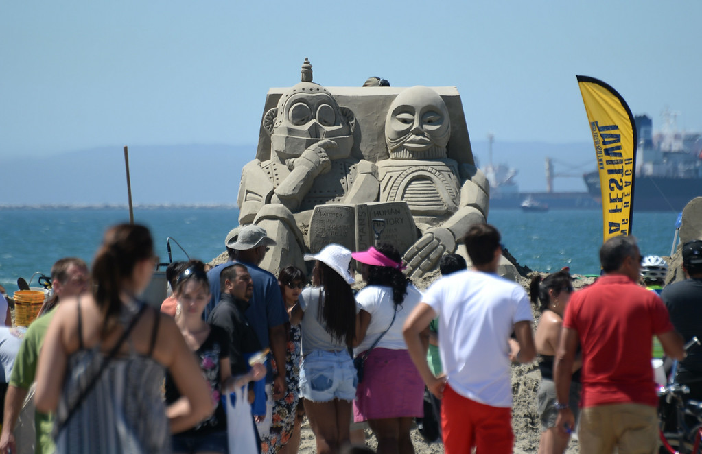 . Artists took to the beach at Belmont Shore for the 82nd Annual Sand Sculpture Contest Saturday, August 16, 2014, Long Beach, CA.  This year the sculptures are elevated so as to be seen all the way from the bike path. Photo by Steve McCrank/Daily Breeze