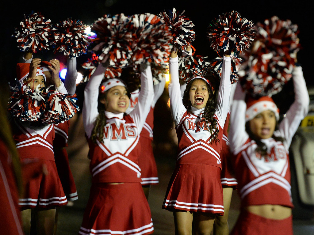 . The 60th annual Daisy Avenue Parade in the Wrigley neighborhood Saturday, December 13, 2013, in Long Beach, CA.    Washington Middle School Cheer Squad. Photo by Steve McCrank/DailyBreeze