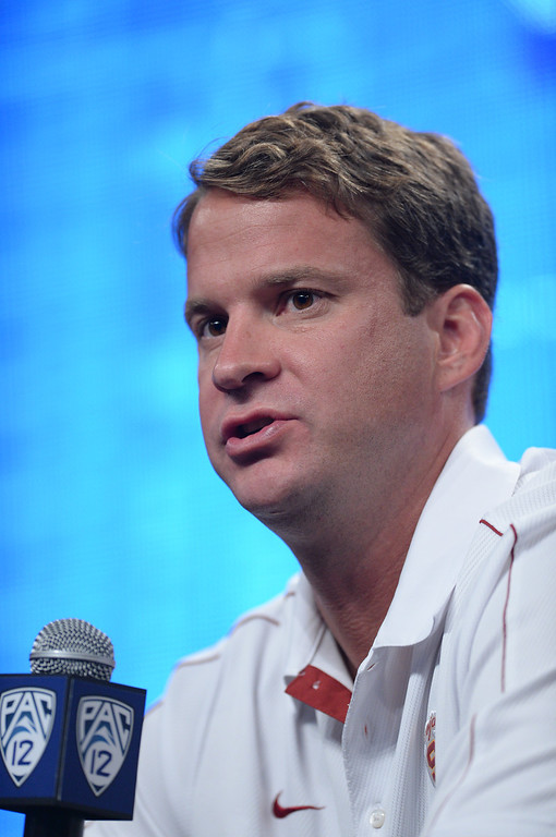 . USC Coach Lane Kiffin. Pac12 media Day at Sony Studios.  Photo by Brad Graverson 7-26-13