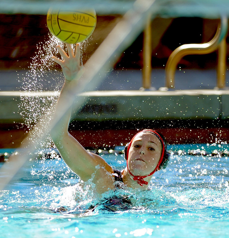 . 02-16-2012--(LANG Staff Photo by Sean Hiller)- Palos Verdes girls water polo defeated Upland 10-8 in Saturday\'s CIF Southern Section Division III quarterfinal at Palos Verdes High School. Caroline D\'Ambra takes an attempt on the goal.
