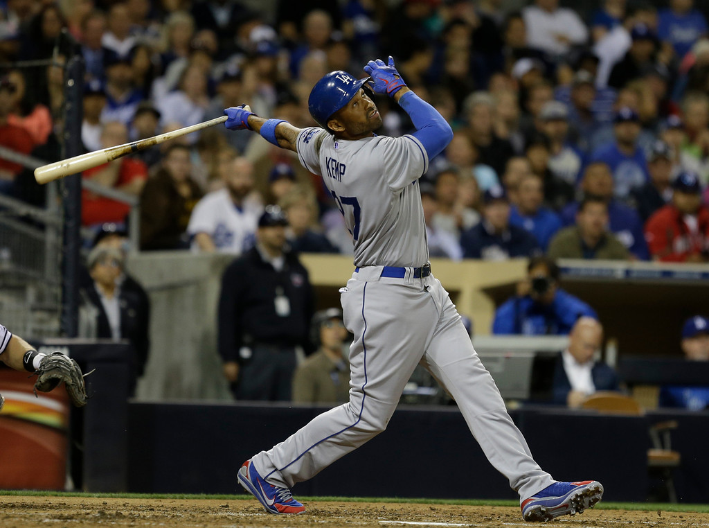 . Los Angeles Dodgers\' Matt Kemp batting against the San Diego Padres during  the  a baseball game in San Diego, Wednesday, April 10, 2013. (AP Photo/Lenny Ignelzi)