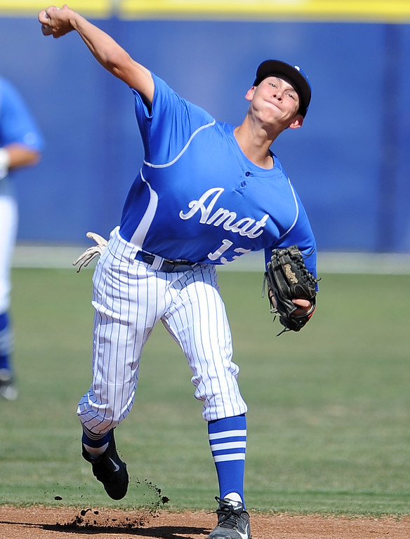 . Bishop Amat shortstop Anthony Walters (13) in the second inning of a prep baseball game against St. Paul at Bishop Amat High School on Friday, April 19, 2012 in La Puente, Calif. Bishop Amat won 3-2.    (Keith Birmingham/Pasadena Star-News)
