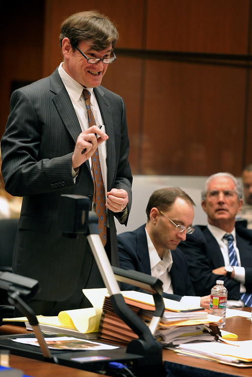 """. Attorney R. Bradford (Brad) Bailey interviewing Dana Farrar, one of the witnesses called to the stand at the murder trial of Christian Gerhartsreiter, 52,  known as \""""Clark\"""" Rockefeller on the second day of the trial onTuesday, March 19, 2013 at Clara Shortridge Fortz Criminal Justice Center in Los Angeles.  Gerhartsreiter is a German immigrant who masqueraded as a member of the Rockefeller family. He is charged with murder of John Sohus, 27, whose bones were unearthed from the backyard of the home in San Marino, California, in 1985.  Sohus\' wife, Linda, has never been found. (SGVN/Photo by Walt Mancini/LANG)"""