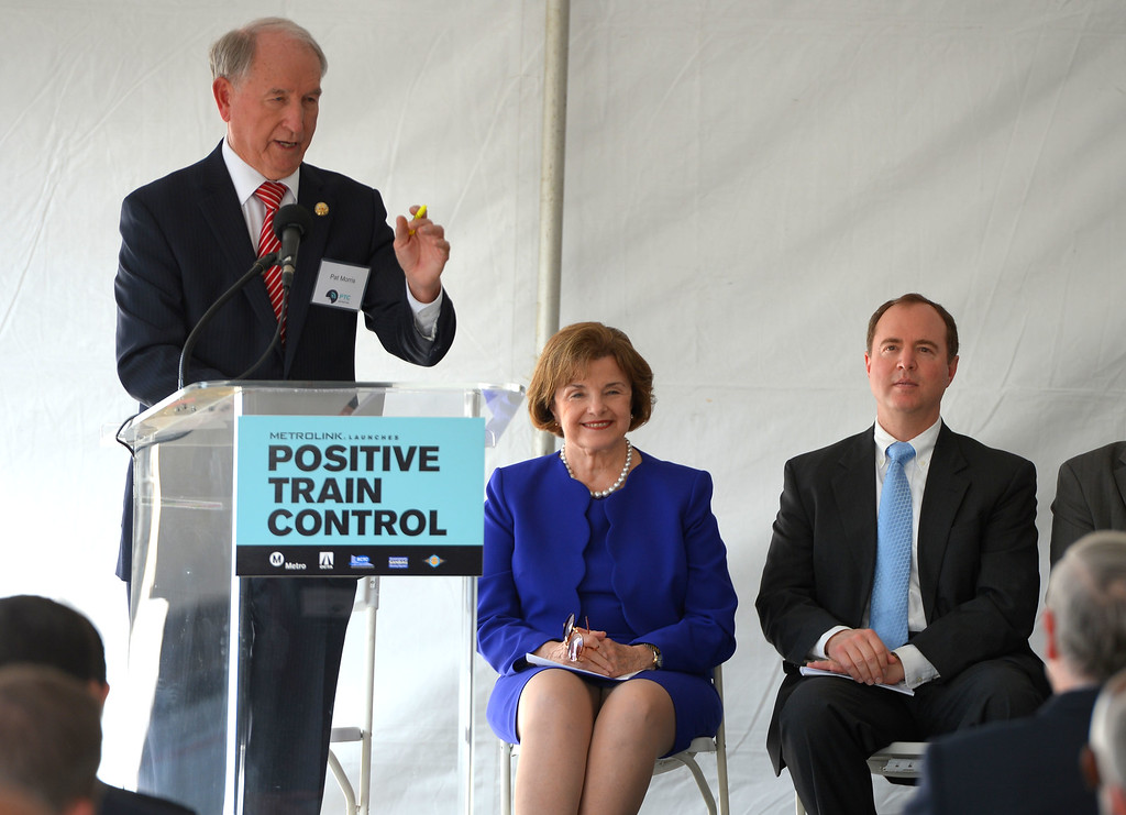 . Metrolink officials showed off their new Positive Transfer Control (PTC) during an event in Los Angeles, CA on Thursday, February 20, 2014. From left, Pat Morris, Metrolink board chairman, Sen. Diane Feinstein and Rep. Adam Schiff. The computer and satellite devices will be installed in all Metrolink trains and should prevent accidents. (Photo by Scott Varley, Daily Breeze)