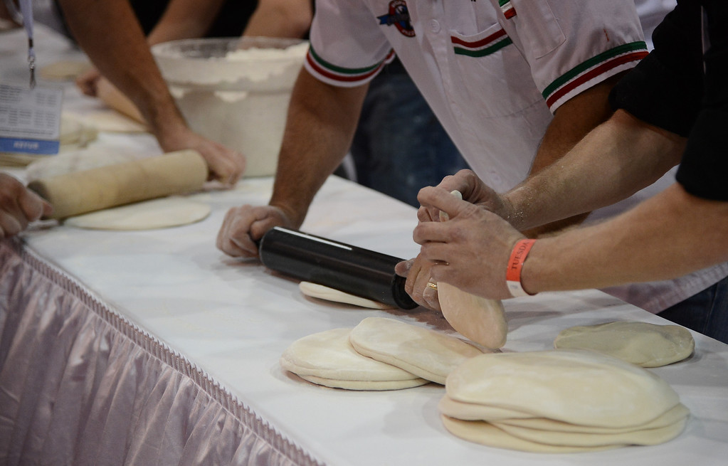 . March 19,2013. Las Vegas NV. USA. Pizza chef\'s  flatted dough to be used during the world pizza games at the 2013 International Pizza Expo. Photo by Gene Blevins/LA DailyNews