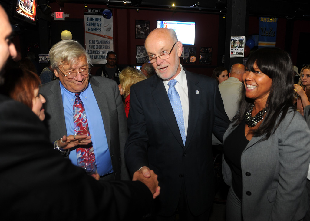 . Torrance mayoral candidate Pat Furey, center, chats with supporters at his election night party at the Industry Bar in Torrance, CA on Tuesday, June 3, 2014. (Photo by Scott Varley, Daily Breeze)