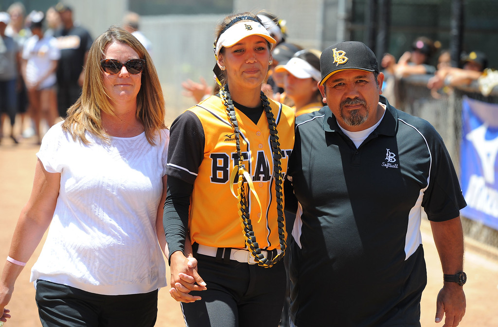 . Senior Sarah Carrasco and her family before LBSU lost to Cal Poly softball 3-0 in Long Beach, CA on Sunday, May 4, 2014.  (Photo by Scott Varley, Daily Breeze)
