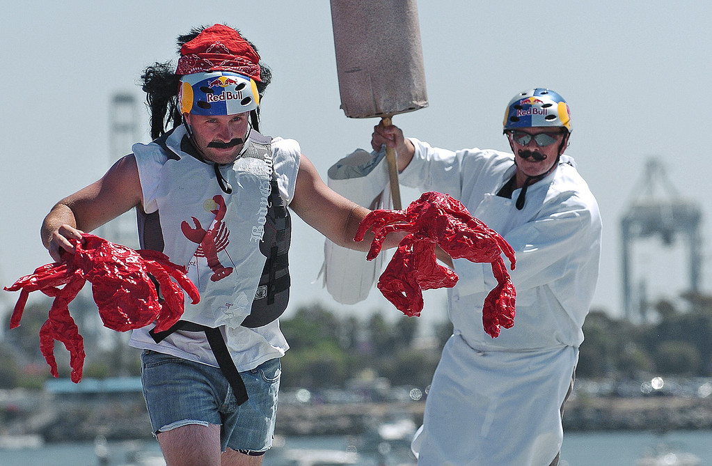 . 08/21/10:  Steve Branowski, left, and Peter Lehmar, both employees of Gladstone\'s Restaurant in Long Beach and member of team Fish n\' CHiPs go through their skit on the flight deck of the Red Bull Flugtag Long Beach at Rainbow Harbor on Saturday, August 21, 2010..Photo by Diandra Jay/Press-Telegram