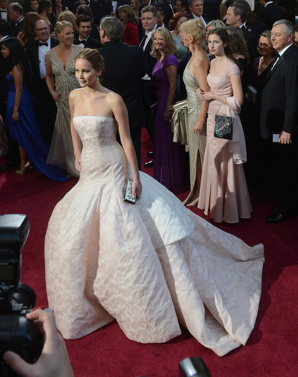 . Jennifer Lawrence arrives at the 85th Academy Awards at the Dolby Theatre in Los Angeles, California on Sunday Feb. 24, 2013 ( Hans Gutknecht, staff photographer)