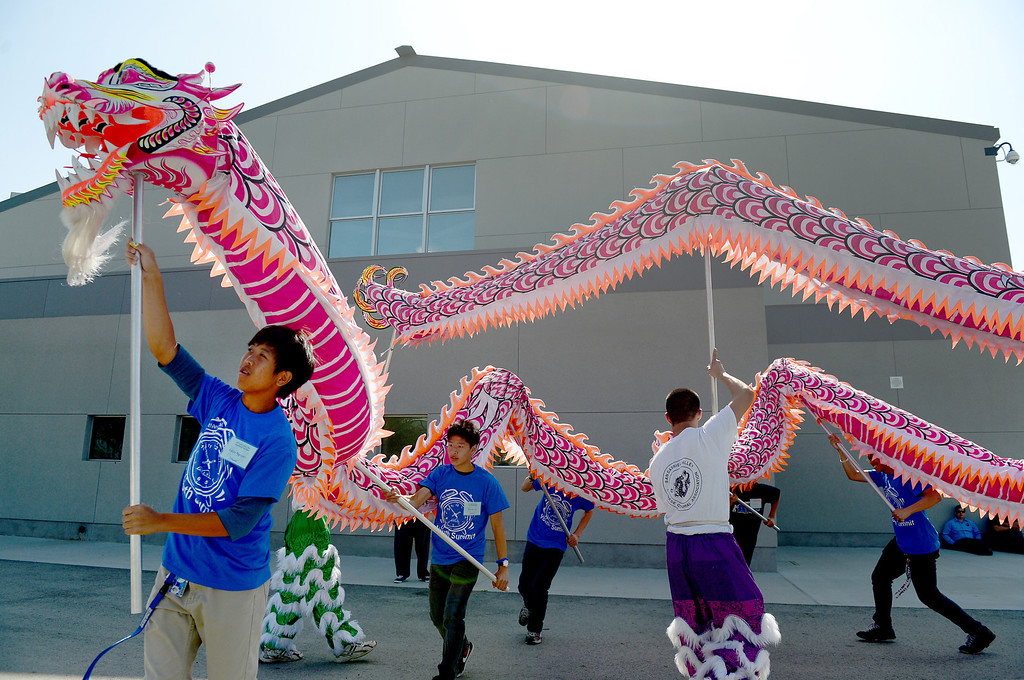 Description of . The San Gabiel Valley Chinese Cultural Association teaches the dragon dance during the 4th Annual San Gabriel Youth Summit at Columbia School in El Monte Saturday, March 23, 2013. (SGVN/Staff Photo by Sarah Reingewirtz)