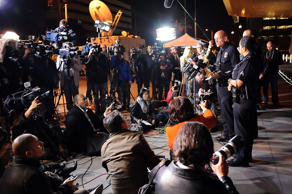 ". ""No body has been located yet\"" announced LAPD Commander Andrew Smith during a Tuesday evening press conference outside the Los Angeles Police Department Headquarters February 12, 2013.(Andy Holzman/Los Angeles Daily News)"