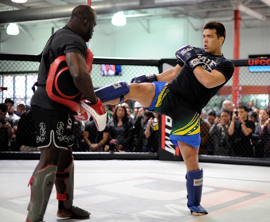 . UFC fighter Lyoto Machida during an open workout at the UFC Gym in Torrance, CA Wednesday, February 20, 2013. (Hans Gutknecht/Staff Photographer)