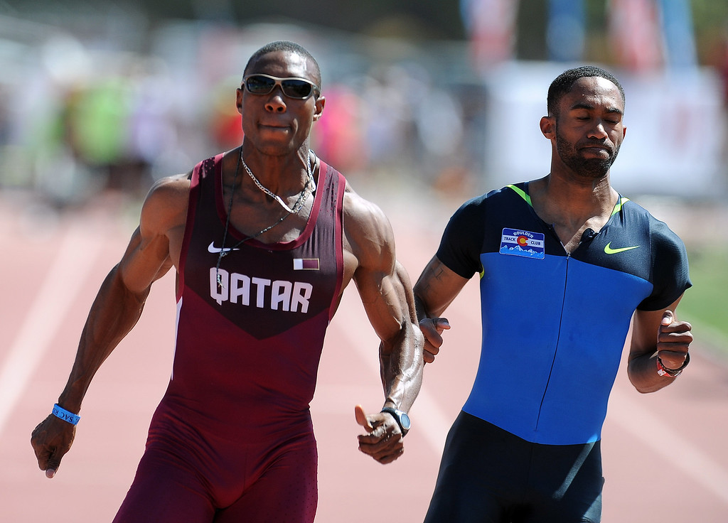 Description of . Samuel Francis of Qatar wins the 100 meter dash olympic Development elite during the Mt. SAC Relays in Hilmer Lodge Stadium on the campus of Mt. San Antonio College on Saturday, April 20, 2012 in Walnut, Calif.    (Keith Birmingham/Pasadena Star-News)