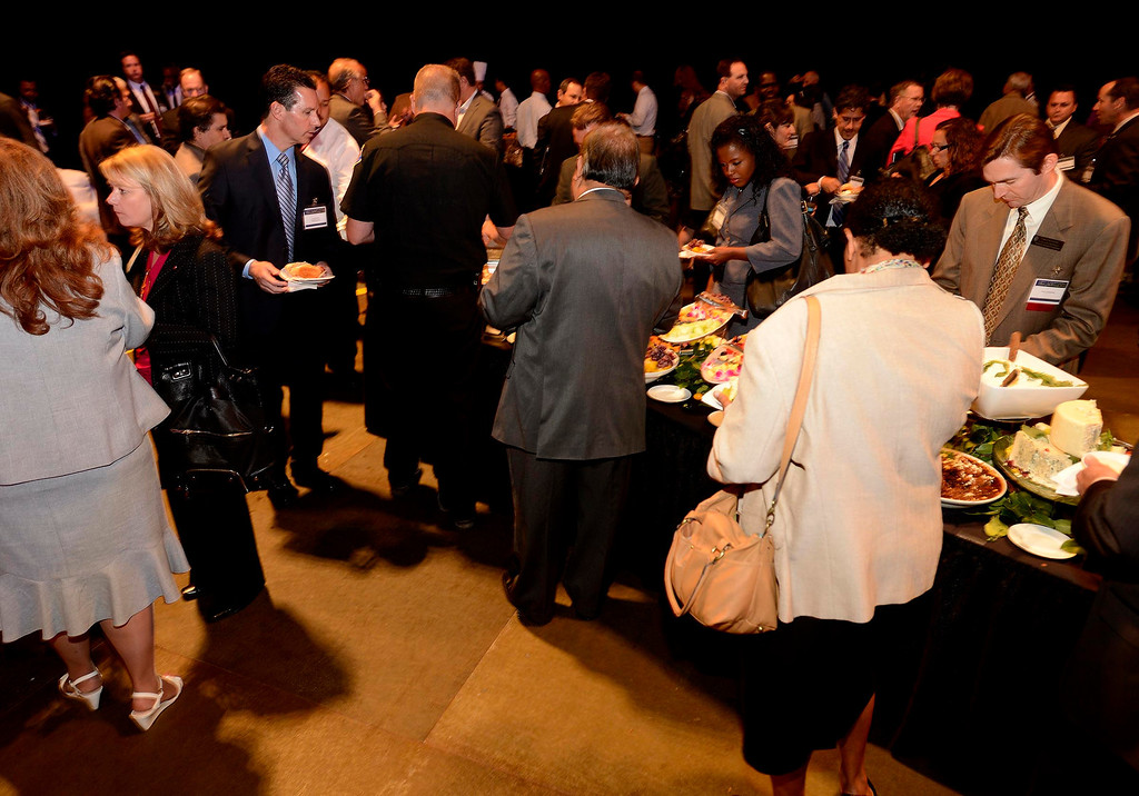 . Hundreds enjoy the networking forum after the State of the County 2013 program at Citizens Bank Arena in Ontario April 10, 2013.   GABRIEL LUIS ACOSTA/STAFF PHOTOGRAPHER.