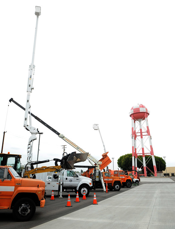 . Maintenance equipment is displayed during the grand opening of the state-of-the-art Public Works and Transportation Yard at the El Monte Public Works & Transportation Yard on Thursday, April 25, 2012 in El Monte, Calif.    (Keith Birmingham/Pasadena Star-News)