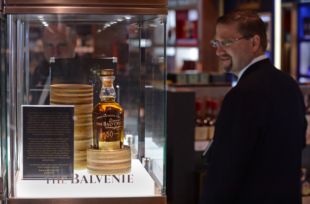 . A $30,000 bottle of scotch whisky. Media preview of the new Tom Bradley International Terminal at LAX.  Photo by Brad Graverson 6-20-13