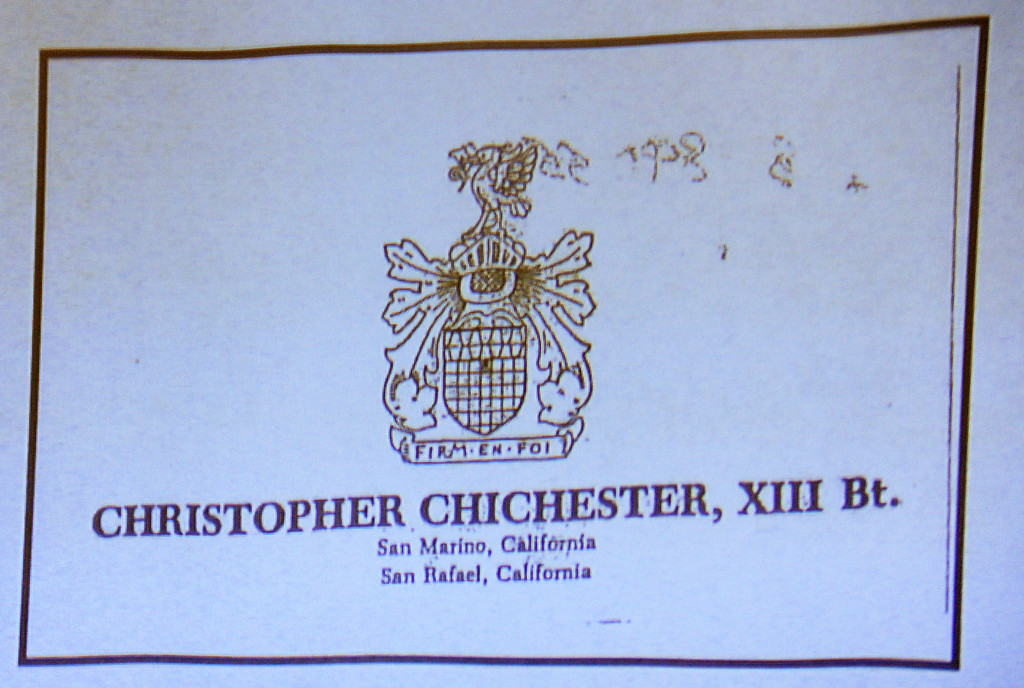 Description of . A copy of the business card Christopher Chichester, XIII gave to Dana Farrar, a witness on the stand that was part of the evidence in he murder trial of Christian Gerhartsreiter, 52,  known as