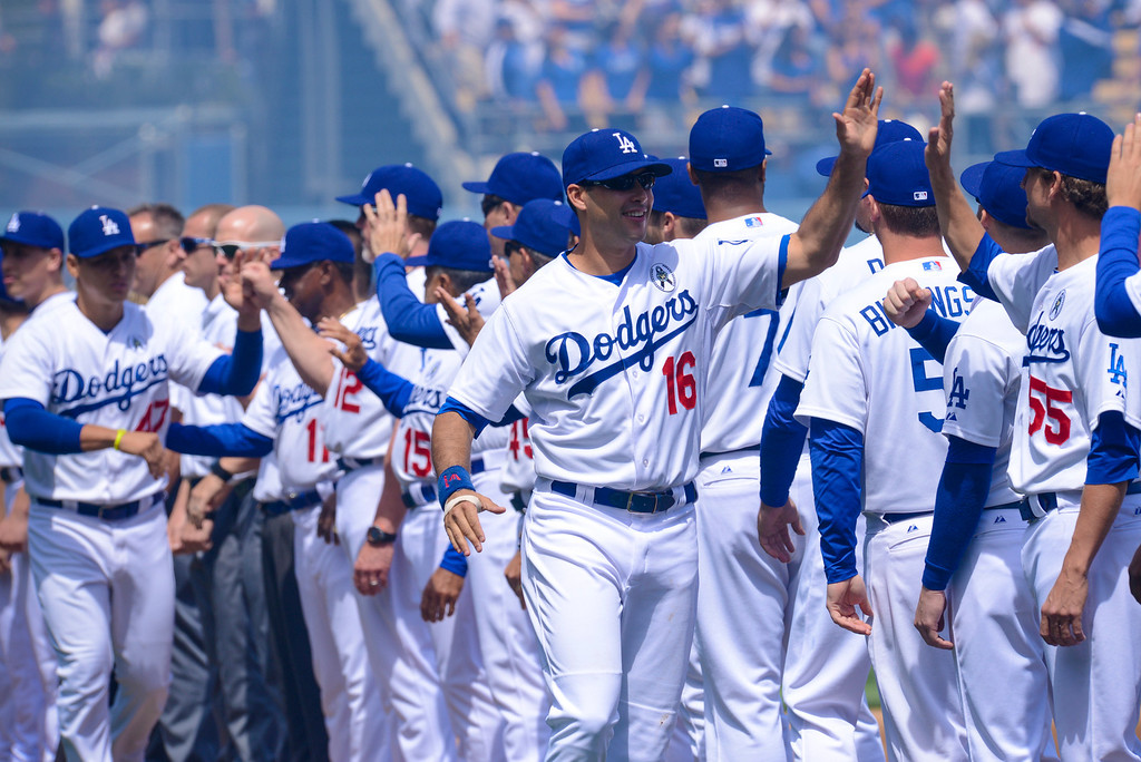 . The Dodgers are introduced at opening day at Dodger Stadium Monday (4/1/13).  Photo by David Crane/Los Angeles Daily News.