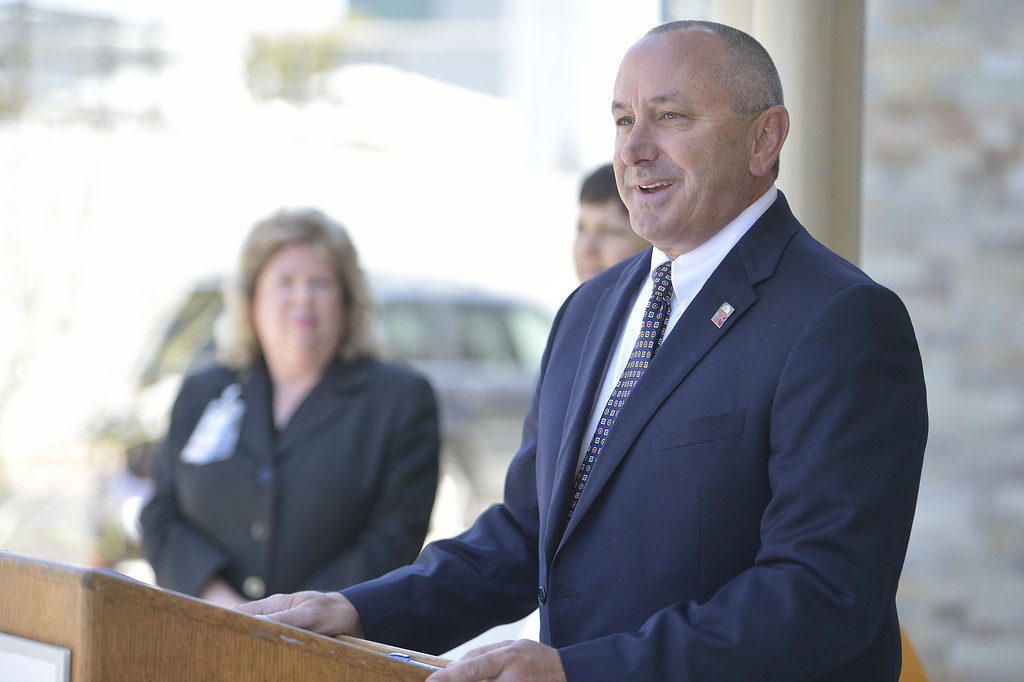 . LONG BEACH, CALIF. USA -- Mike Tuohy, vice president and project executive for McCarthy Construction, during a ceremony to hand over the key of the Todd Cancer Institute to Long Beach Memorial Medical Center on April 22, 2013. The new $31 million Todd Cancer Pavilion is scheduled to be unveiled to the public on Saturday, June 29 and open to patients on Monday, July 15. Photo by Jeff Gritchen / Los Angeles Newspaper Group
