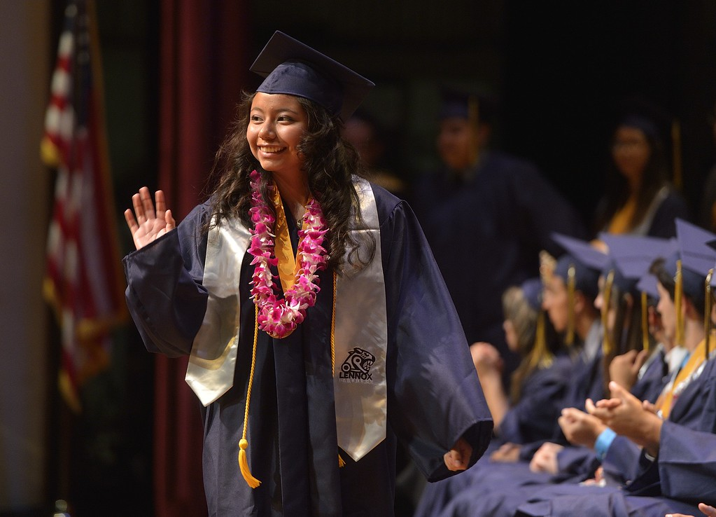 . TORRANCE, CALIF. USA -- Paola Diaz Espiritu during commencement ceremonies for Lennox Math, Science & Technology Academy at El Camino College in Torrance, Calif., on June 8, 2013.   Photo by Jeff Gritchen / Los Angeles Newspaper Group